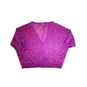 Free People purple metallic cardigan size L